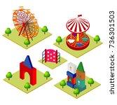 amusement park attractions... | Shutterstock .eps vector #736301503