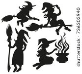 black silhouettes of witches... | Shutterstock .eps vector #736302940