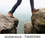 detail of  hiker legs in black... | Shutterstock . vector #736305583