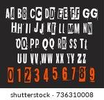 eroded letter design. vector... | Shutterstock .eps vector #736310008