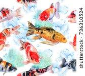 the koi carps. seamless pattern ... | Shutterstock . vector #736310524
