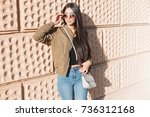 fashion close up portrait... | Shutterstock . vector #736312168