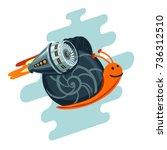 business metaphor. flying snail ... | Shutterstock .eps vector #736312510