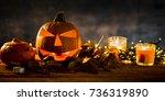 halloween pumpkin head jack...   Shutterstock . vector #736319890