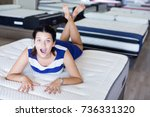 customer girl is posing... | Shutterstock . vector #736331320