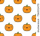 seamless halloween pattern... | Shutterstock .eps vector #736331470