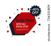 black friday sale label. stock... | Shutterstock .eps vector #736331809