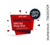 black friday sale label. stock... | Shutterstock .eps vector #736331929