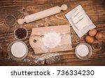 dough recipe ingredients on... | Shutterstock . vector #736334230