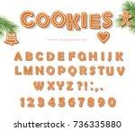 christmas gingerbread cookie... | Shutterstock .eps vector #736335880
