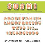 sushi rolls font isolated on... | Shutterstock .eps vector #736335886