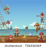 group of cartoon pirates on a... | Shutterstock .eps vector #736336369