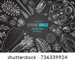 spring rolls and ingredients... | Shutterstock .eps vector #736339924