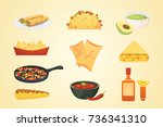 mexican cuisine cartoon dishes... | Shutterstock .eps vector #736341310