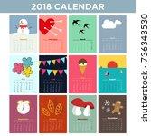 2018 illustrated calendar.... | Shutterstock .eps vector #736343530