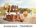 beer bottles in the vintage... | Shutterstock . vector #736348024