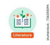 literature reading  open book ... | Shutterstock .eps vector #736350094