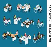 isometric professional support... | Shutterstock .eps vector #736350316