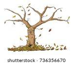 Vector illustration of Sad autumn tree