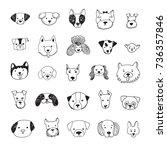 dog face funny cartoon line... | Shutterstock . vector #736357846