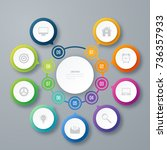 infographics template 9 options ... | Shutterstock .eps vector #736357933