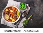 meat stew with beef  potato ... | Shutterstock . vector #736359868