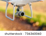 close up on white drone camera. ... | Shutterstock . vector #736360060