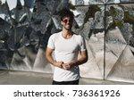 handsome caucasian male wearing ... | Shutterstock . vector #736361926