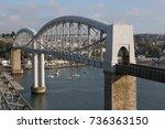 the royal albert bridge between ... | Shutterstock . vector #736363150