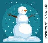 cartoon snowman on sky...   Shutterstock .eps vector #736363330