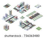 winter christmas urban quarter... | Shutterstock .eps vector #736363480