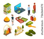 hotel services. isometric... | Shutterstock .eps vector #736364470