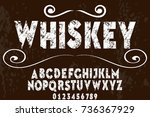 vintage font typeface alphabet... | Shutterstock .eps vector #736367929