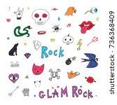 rock doodle trendy festival... | Shutterstock . vector #736368409