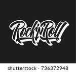 rock and roll lettering text.... | Shutterstock .eps vector #736372948