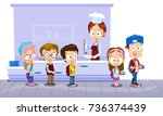 Stock vector vector illustration of school kids in canteen buying and eating lunch pupils in school cafeteria 736374439