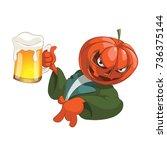 halloween pumpkin beer | Shutterstock .eps vector #736375144