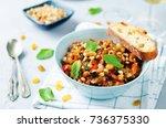 sicilian eggplant pine nuts... | Shutterstock . vector #736375330