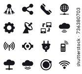 16 vector icon set   share ... | Shutterstock .eps vector #736380703