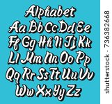 brush pen vector comic alphabet ... | Shutterstock .eps vector #736382668