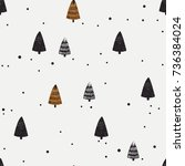 winter seamless pattern with... | Shutterstock .eps vector #736384024
