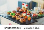 beautifully decorated catering... | Shutterstock . vector #736387168