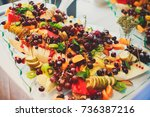 beautifully decorated catering...   Shutterstock . vector #736387216