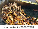 cooked in the frying pan on the ... | Shutterstock . vector #736387234