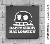 happy halloween set. invitation ... | Shutterstock .eps vector #736387276