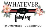 embroidered flowers slogan | Shutterstock .eps vector #736388470