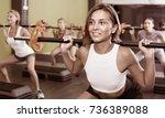 portrait of cheerful sporty... | Shutterstock . vector #736389088