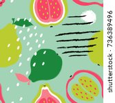 abstract funny colorful guava... | Shutterstock .eps vector #736389496