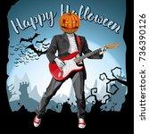 vector halloween scary pumpkin...   Shutterstock .eps vector #736390126