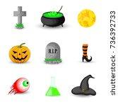 set of halloween objects... | Shutterstock . vector #736392733